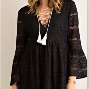 Black lace babydoll dress